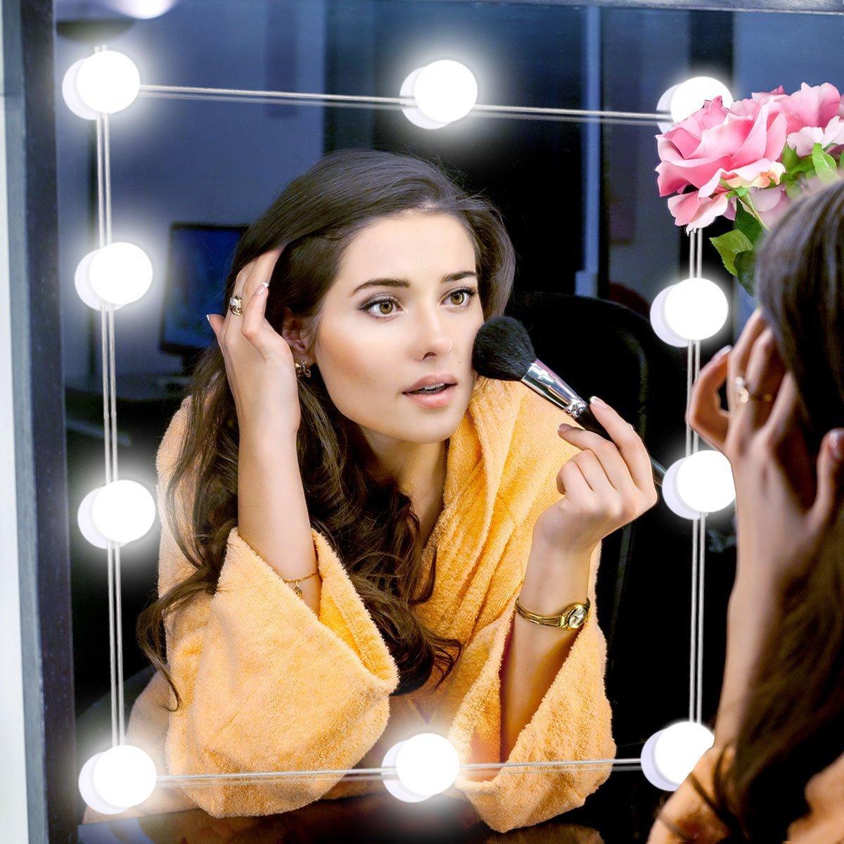 Αυτοκόλλητος Ρυθμιζόμενος Φωτισμός Led Vanity Τύπου Hollywood για Καθρέπτη Τουαλέτας Μακιγιάζ