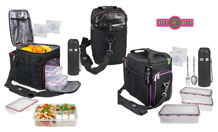 Τσάντα Ψυγείο με δοχεία φαγητού και θερμός, σετ 8 τεμαχίων